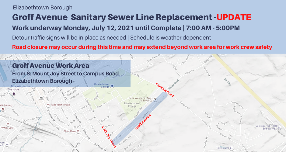 Groff Ave-Campus Rd to S. Mt. Joy St - UPDATE