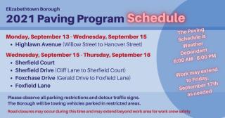 2021 Paving schedule for Elizabethtown Borough.