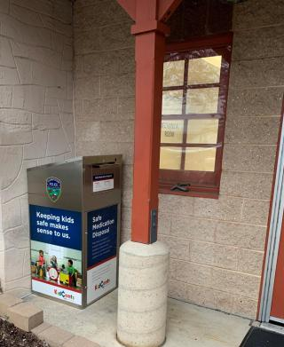Prescription Drug Take Back box located at the rear of the Police Station